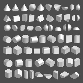 Conjunto de formas 3d.