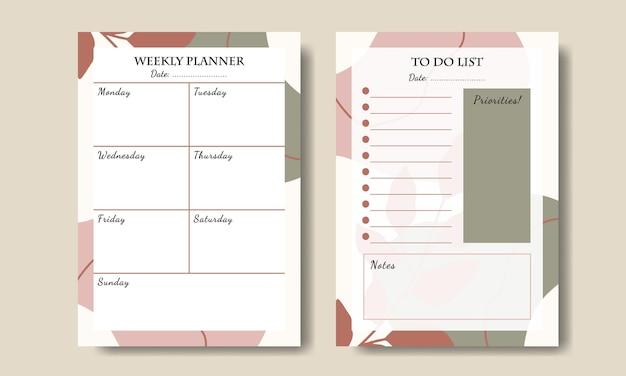 Conjunto de formas abstratas boho e lista de tarefas do planejador semanal de folhas para impressão
