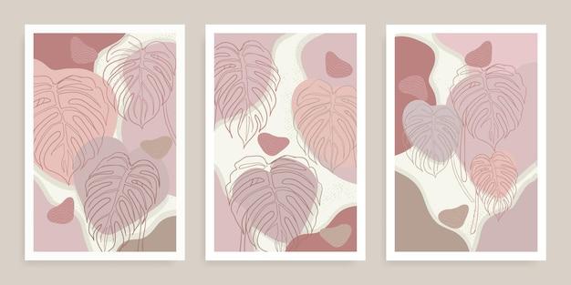 Conjunto de formas abstratas de monstera boho e folhas tropicais