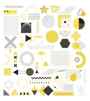 Conjunto de formas abstratas geométricas vetoriais elementos retro de memphis dos anos 80 dos anos 90
