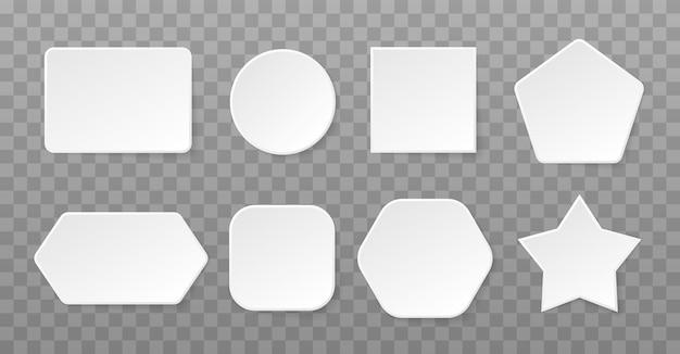 Conjunto de formas brancas em fundo transparente