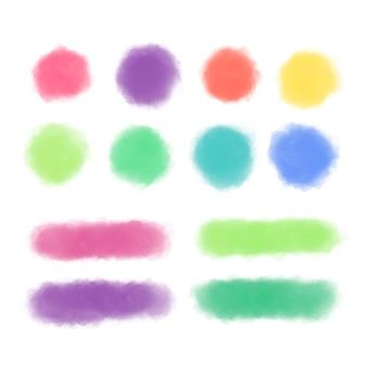 Conjunto de formas coloridas em aquarela