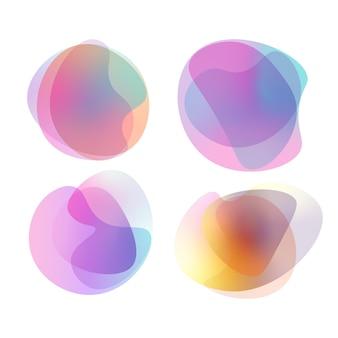 Conjunto de formas de blob gradiente vibrante colorido abstrato. mancha aleatória. ilustração vetorial.
