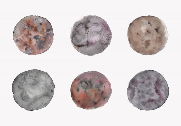 Conjunto de formas de círculo texturizado em aquarela maravilha pintado à mão