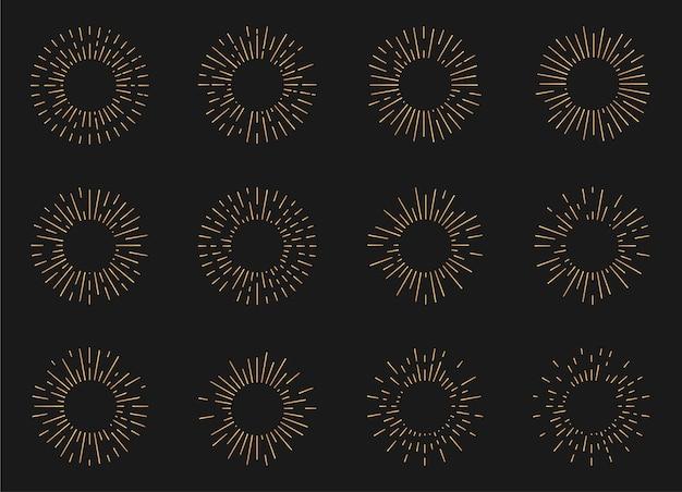Conjunto de formas de explosão de sol radiante. quadro de raio de luz vintage hipster.
