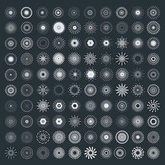 Conjunto de formas de explosão de sol retrô. explosão mínima de fogo de artifício preto