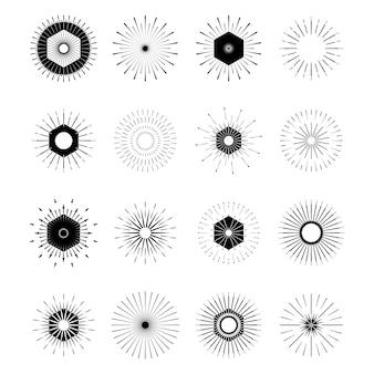 Conjunto de formas de explosão de sol retrô.