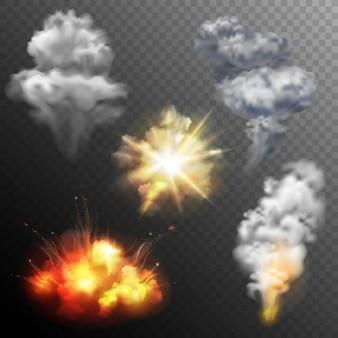 Conjunto de formas de explosões de fogo de artifício