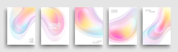 Conjunto de formas de gradiente holográfico na moda. modelo de capas modernas. cores fluidas.