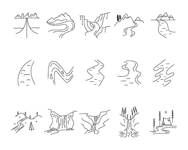 Conjunto de formas de ícones de vales, rios e montanhas de vetor simples. kit de criação de logotipo. pacote de elementos de arte de linha de aventura ao ar livre. conceito linear de silhueta. coleção de estoque de vetores.