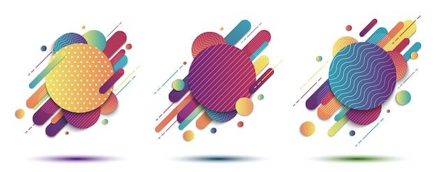 Conjunto de formas de linha arredondada padrão geométrico colorido abstrato