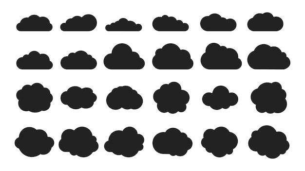 Conjunto de formas de nuvem negra