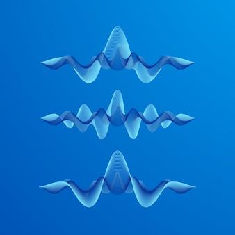 Conjunto de formas de onda em fundo azul, ilustração