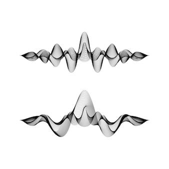Conjunto de formas de onda em fundo branco, ilustração