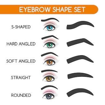 Conjunto de formas de sobrancelhas de mulheres