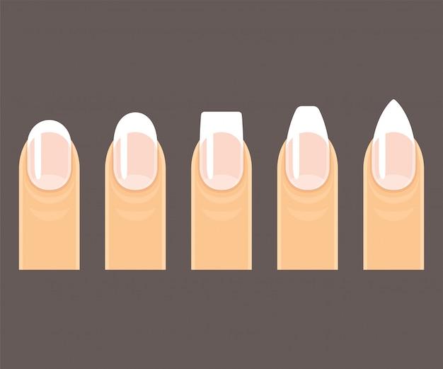 Conjunto de formas de unha manicure profissional. unhas redondas, quadradas e pontudas (estilete) em fundo escuro.