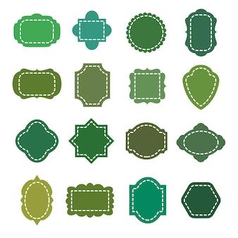 Conjunto de formas de vetor verde eco natural produto orgânico emblemas