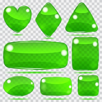 Conjunto de formas de vidro transparente em cores verdes