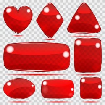 Conjunto de formas de vidro transparente em cores vermelhas