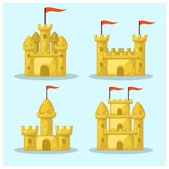 Conjunto de formas diferentes castelo de areia da praia. coleção de desenhos animados de verão. ilustração.