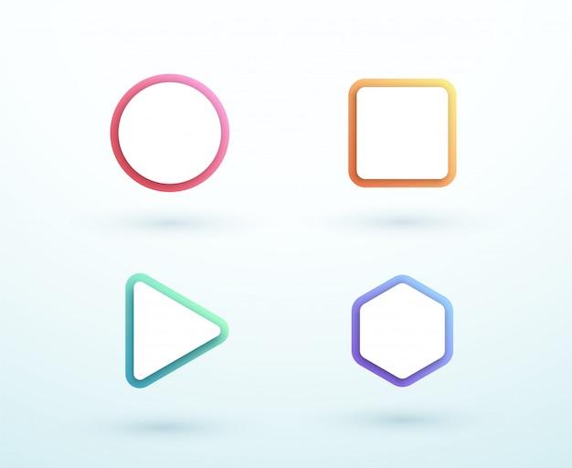 Conjunto de formas diferentes de caixa de texto colorido de vetor 3d