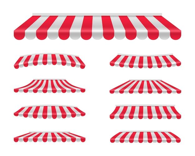 Conjunto de formas diferentes de toldos listrados. guarda-sol vermelho e branco. abrigo para armazém. tenda ao ar livre para loja, mercado e café. ilustração.