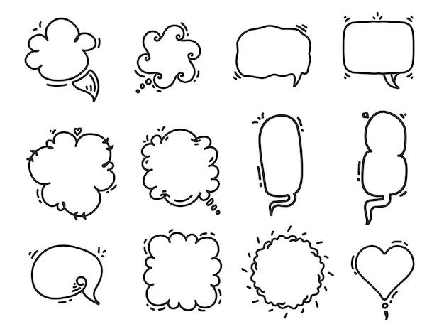 Conjunto de formas em branco de bolha de discurso desenhada à mão desenho animado