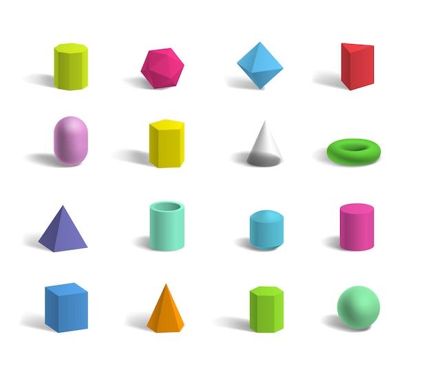 Conjunto de formas geométricas 3d básicas, esfera colorida, toro, cubo, pirâmides, hexágono e pentágono