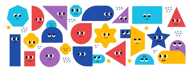 Conjunto de formas geométricas básicas brilhantes com emoções faciais formas diferentes personagens fofinhosvetor