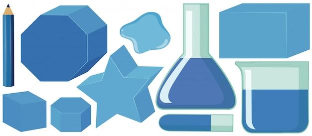 Conjunto de formas geométricas e recipientes em azul