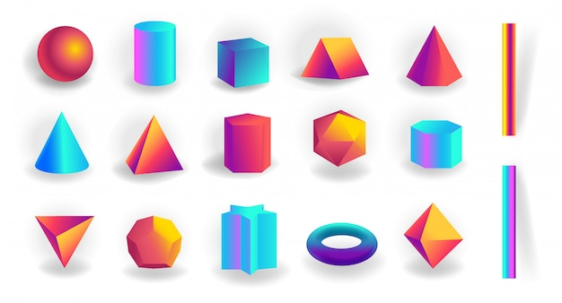 Conjunto de formas geométricas em 3d e traços editáveis com gradiente holográfico isolado
