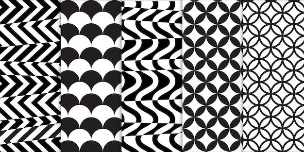 Conjunto de formas geométricas em preto e branco e padrão sem emenda de ilusão de ótica em espiral ou onda
