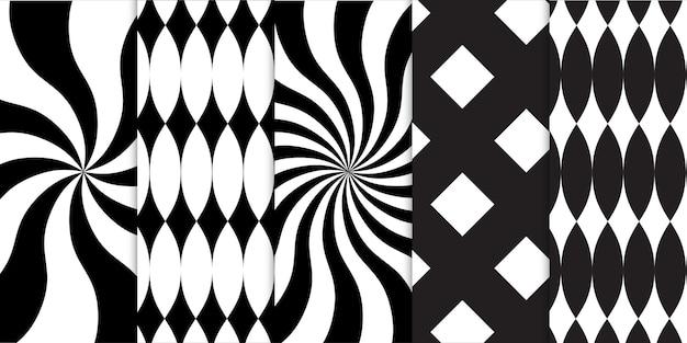 Conjunto de formas geométricas em preto e branco e padrão sem emenda de ilusão de ótica em espiral