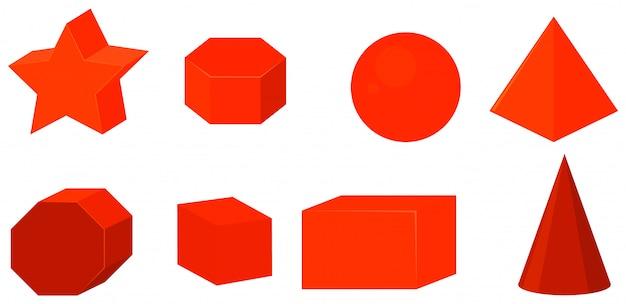 Conjunto de formas geométricas na cor vermelha