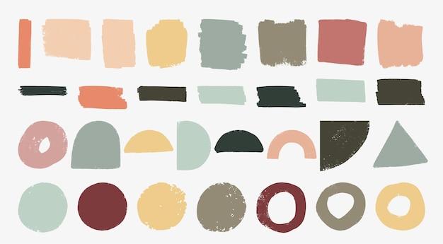 Conjunto de formas geométricas texturizadas geométricas desenhadas à mão