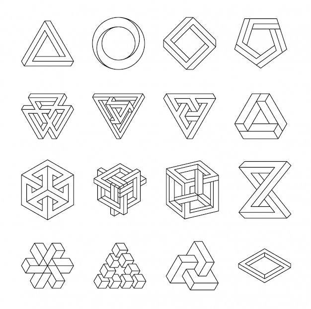 Conjunto de formas impossíveis. ilusão de óptica. ilustração vetorial, isolada no branco. geometria sagrada.