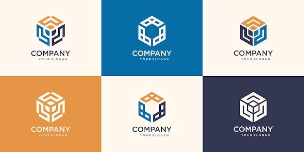 Conjunto de formas minimalistas da moda do hexágono. conjunto de logotipo elegante