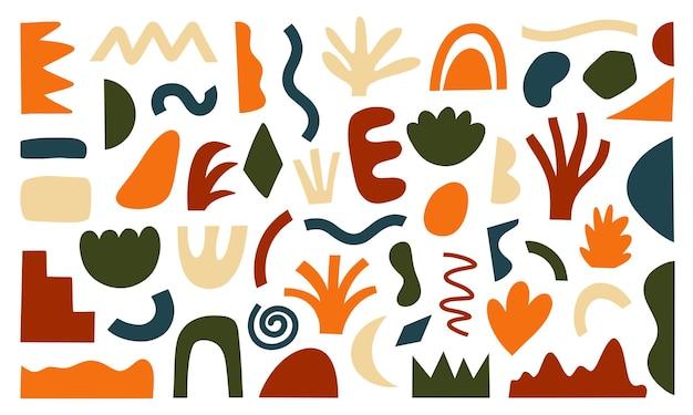 Conjunto de formas modernas desenhadas à mão e objetos de doodle