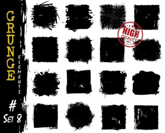 Conjunto de formas quadradas de estilo grunge