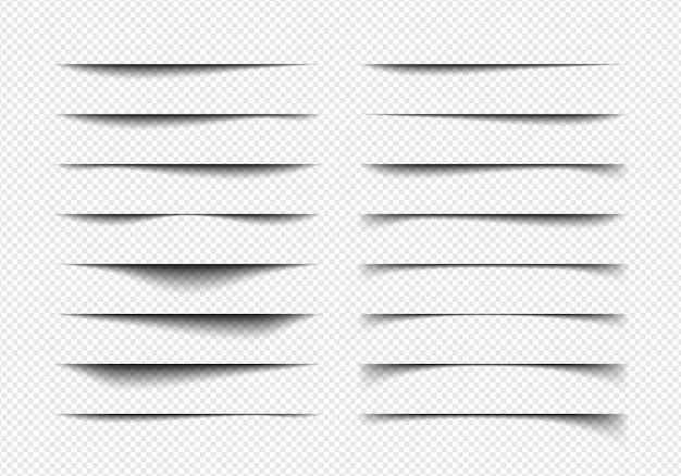 Conjunto de formas realistas de efeito de sombra, separação de página