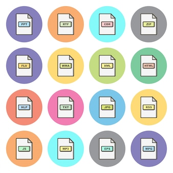 Conjunto de formatos de arquivo ícones elementos isolados