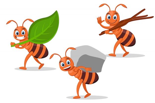 Conjunto de formigas carregam galhos de folhas, pedras e árvores em um branco.