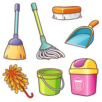 Conjunto de fornecedores de limpeza