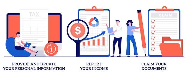 Conjunto de fornecer e atualizar suas informações pessoais, relatar sua renda, reivindicar documentos
