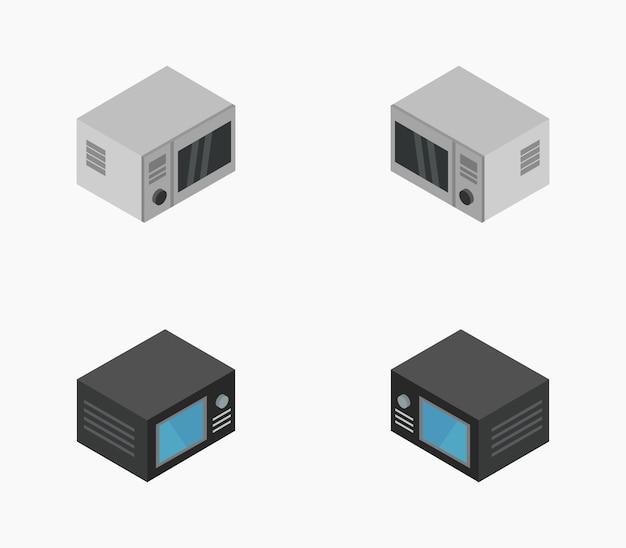 Conjunto de forno de microondas isométrico