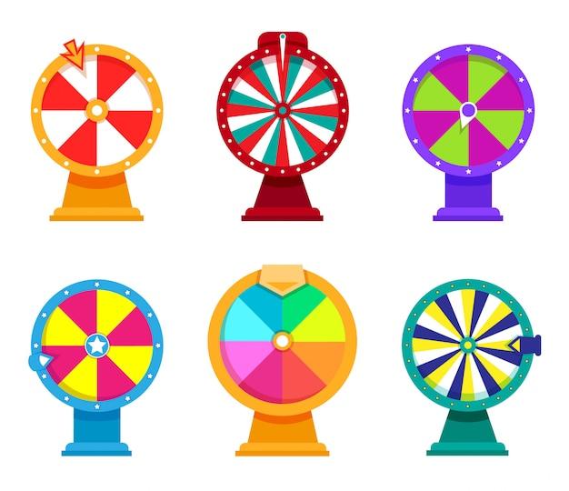 Conjunto de fortuna de roda. roleta de cassino com flecha em um estilo apartamento moderno. jogos de azar em cores brilhantes.