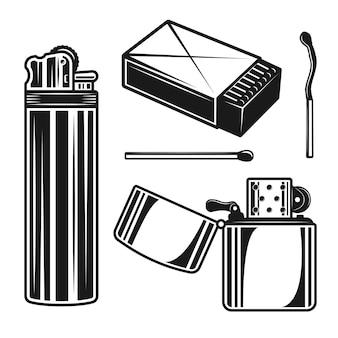 Conjunto de fósforos e isqueiros de objetos ou elementos em estilo monocromático