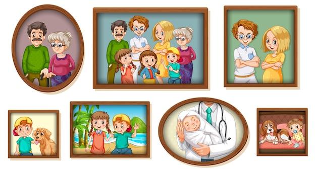 Conjunto de foto de família feliz na moldura de madeira