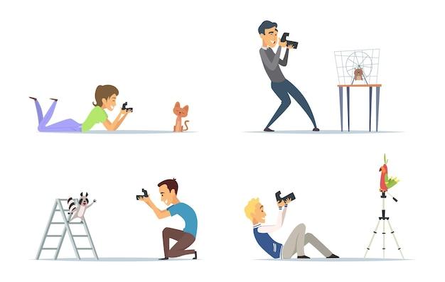 Conjunto de fotógrafos de animais