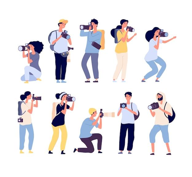 Conjunto de fotógrafos de desenhos animados
